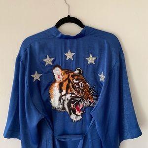 Blue Satin Tiger Embroidered Kimono